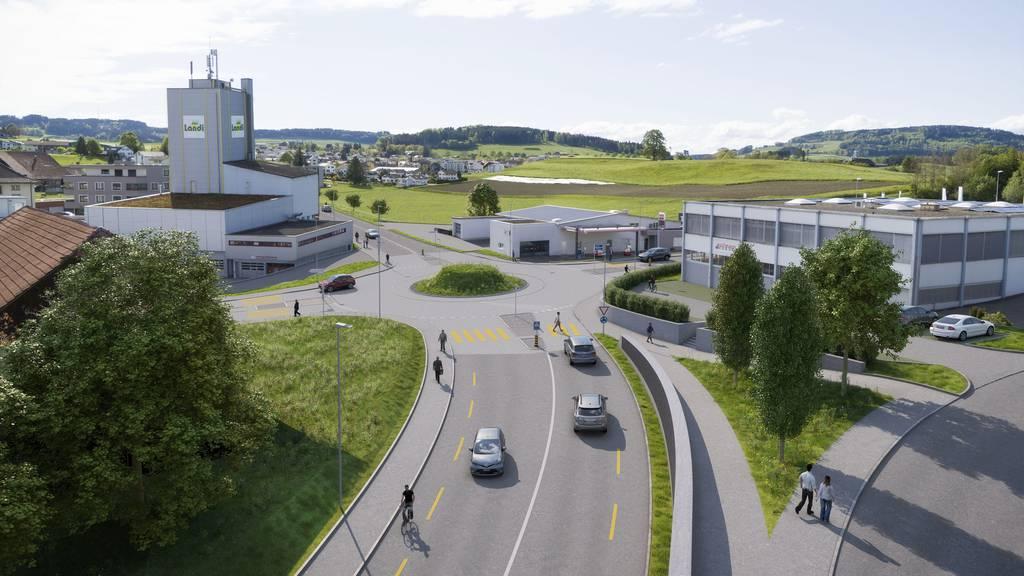 So soll der geplante Kreisel bei der Aargauerstrasse dereinst aussehen.