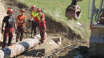 Lehrlinge beim Errichten des Holzkastens zur Stabilisierung des Abhangs RAP