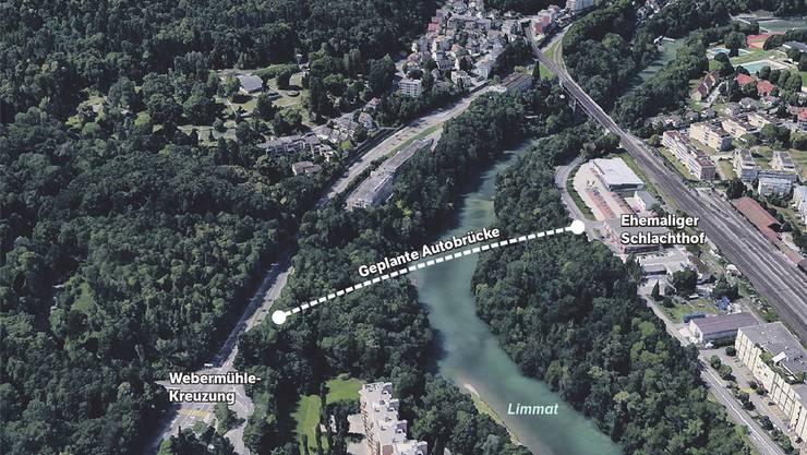 Die Brücke soll vom ehemaligen Schlachthof in die Nähe der Webermühle-Kreuzung führen.