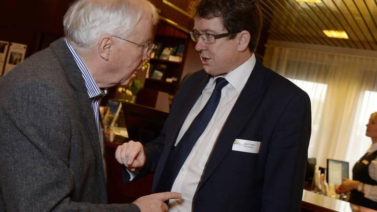 Der abtretende Vize und der designierte Präsident der SVP: Christoph Blocher (links) und Albert Rösti. (Archiv)