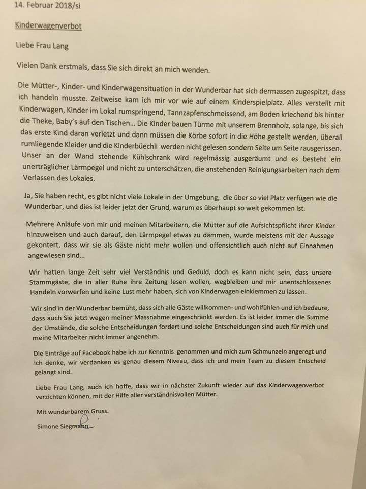 Geschäftsführerin Simone Siegmann nimmt in einem Brief Stellung zum Kinderwagen-Verbot. (Bild:Facebook/Caroline Lenggenhager)