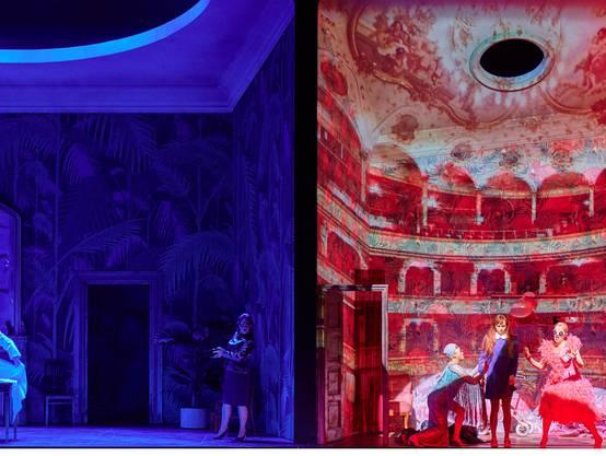 Das Publikum blickt gleichzeitig in zwei verschiedene Räume. Bild: Herwig Prammer