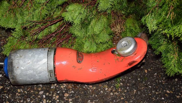 Der demolierte Hydrant.