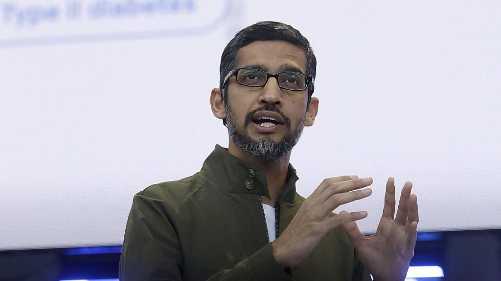 Will keine Google-Technik in Waffensystemen: Unternehmenschef Sundar Pichai. (Archivbild)