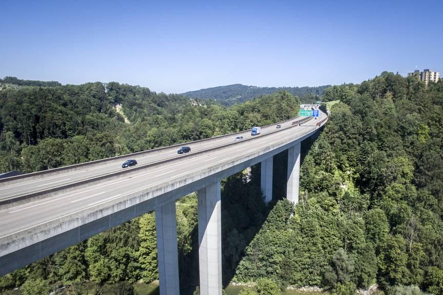 Beton: Die Autobahnbrücke über die Sitter bei St. Gallen. (Bild: Tagblatt/Urs Bucher und Benjamin Manser)