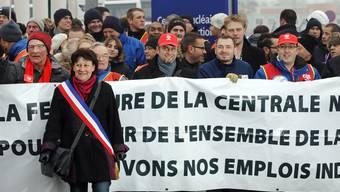 Maire Fabienne Stich auf einer Demonstration.
