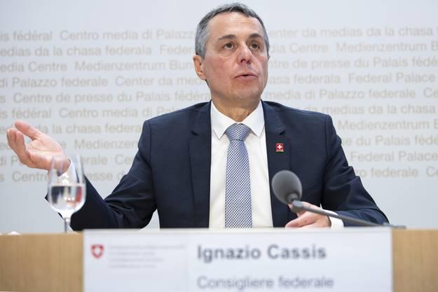 Ignazio Cassis will vor allem keinen zweiten Lockdown. (Bild: Keystone)