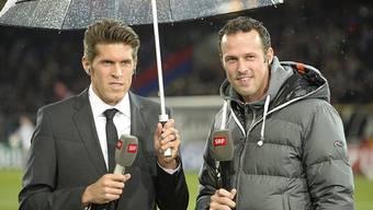 Zwei Freunde beim SRF: Benjamin Huggel analysiert als Experte die Champions League-Spiele des FC Basel, Marco Streller analysiert die FCB-freien Tage.
