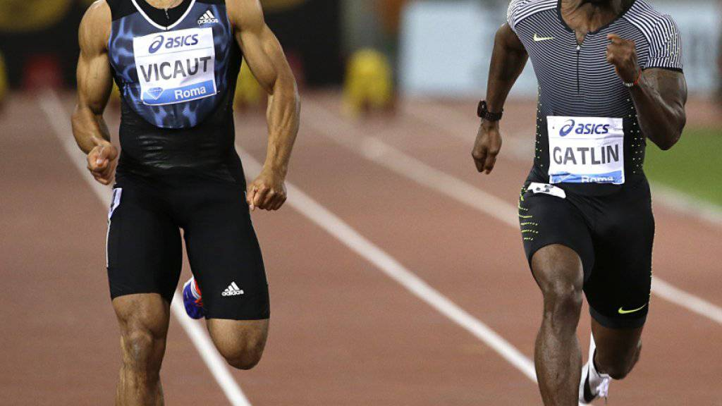 Jimmy Vicaut (links, hier im Duell mit Justin Gatlin) egalisiert eigenen 100-m-Europarekord