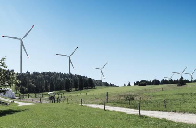 Visualisierung der Windparkanlage auf dem Grenchenberg.
