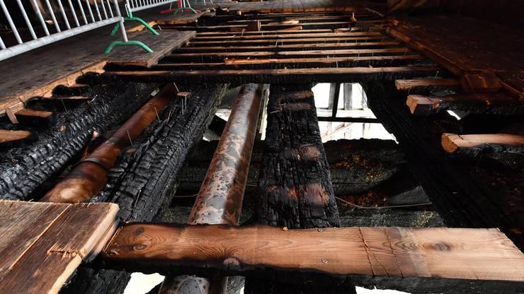 Der Zustand der Holzbrücke in Olten am Tag danach: