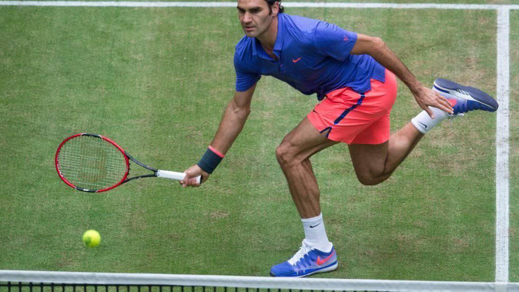 Zurück auf Rasenplätzen: Roger Federer vor einem Jahr in Halle