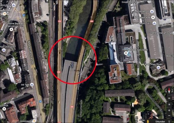 Das blinde Autobahnende in Zürich Brunau - hier hört die Autobahn einfach auf. Die geplante Fortsetzung wurde nämlich nie gebaut.
