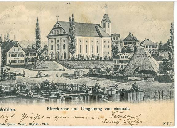 Fräulein Elise Mürset in Bern erhielt diesen Kartengruss aus Wohlen im Juni 1904.