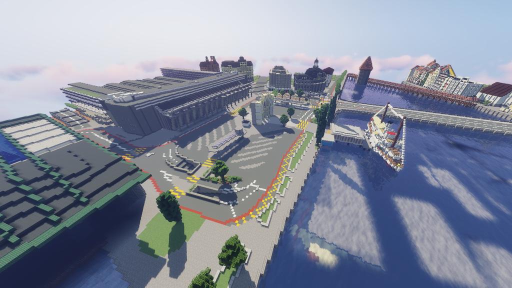Zwei Schüler bauen die Stadt Luzern im Game «Minecraft» nach