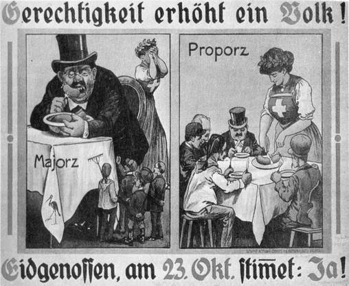Ein Ja-Plakat, das 1918 für die Einführung des Proporzsystems wirbt.