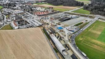 created by dji camera Drohnenbild von der Baustelle beim Knoten Neuhof in Lenzburg von der Fahrrichtung Wohlen her fotografiert. Aufgenommen am 6. März 2019 in Lenzburg.