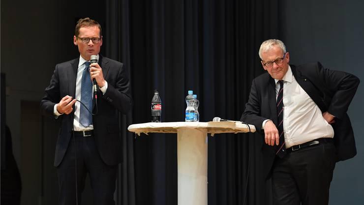 Nicht gerade die dicksten Freunde: Roger Köppel und Kurt Fluri.