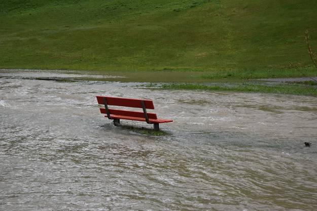 Überschwemmter Spazierweg in Alt St.Johann.