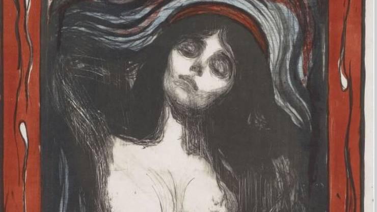 """Die kolorierte Lithografie """"Madonna"""" von Edvard Munch (Ausschnitt) ist das bekannteste Werk aus der Sammlung Glaser, die das Kunstmuseum Basel 1933 angekauft hat."""