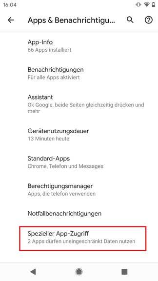 Tippe hier auf «Spezieller App-Zugriff»