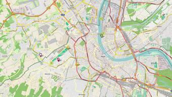 Die Karte zeigt fruchttragende Bäume und Sträucher rund um Basel.