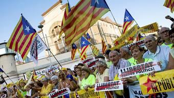 Separatisten am Samstag in Barcelona.