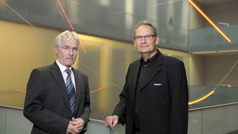 Spitze der FHNW: Richard Bührer (l.) und Peter Schmid im Peter-Merian-Gebäude beim Bahnhof Basel. (Alex Spichale)