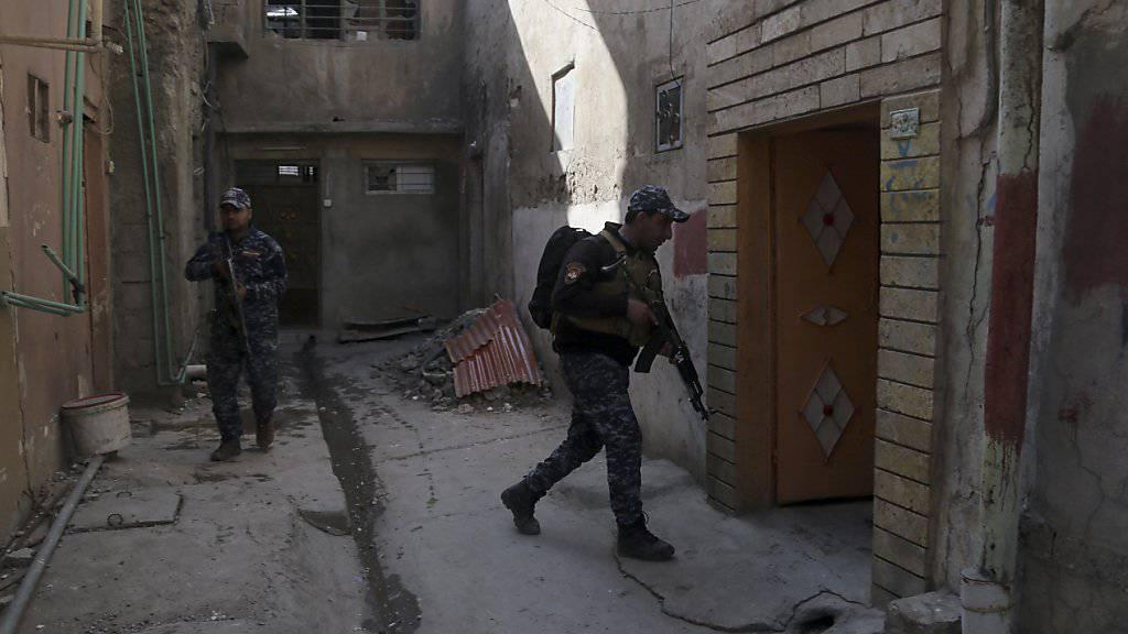 Irakische Sicherheitskräfte durchsuchen Häuser in Mossul. (Archiv)