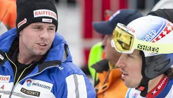 Beat Feuz und Carlo Janka verlieren im ersten Training auf der Hahnenkamm-Abfahrt in Kitzbühel gut zwei Sekunden auf die Tagesbestzeit