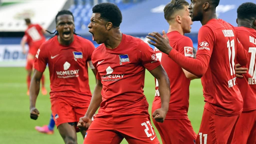 Torschütze Jessic Ngankam und die Berliner bejubeln das 2:1