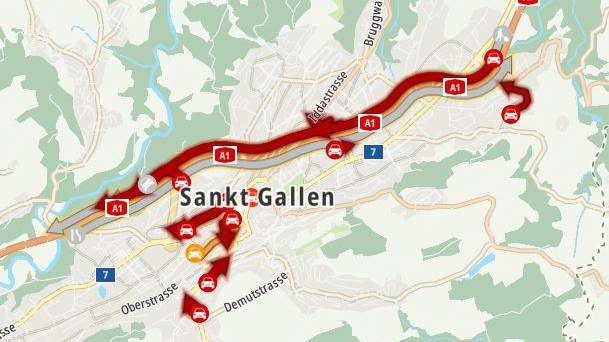 Unfall auf St.Galler Stadtautobahn – ein Kind verletzt