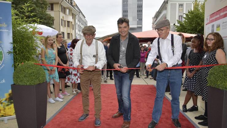 Eröffnung mit Gewerbeverbandspräsident Heinz Westreicher, Stadtpräsident François Scheidegger und OK-Präsident Theo Heiri