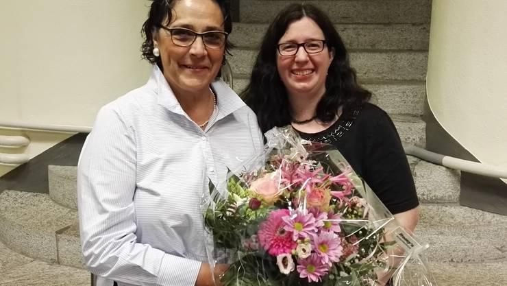 vlnr. Isabel Mathys und Corinne Zbinden (aktuelle und neue Betriebsleiterin)