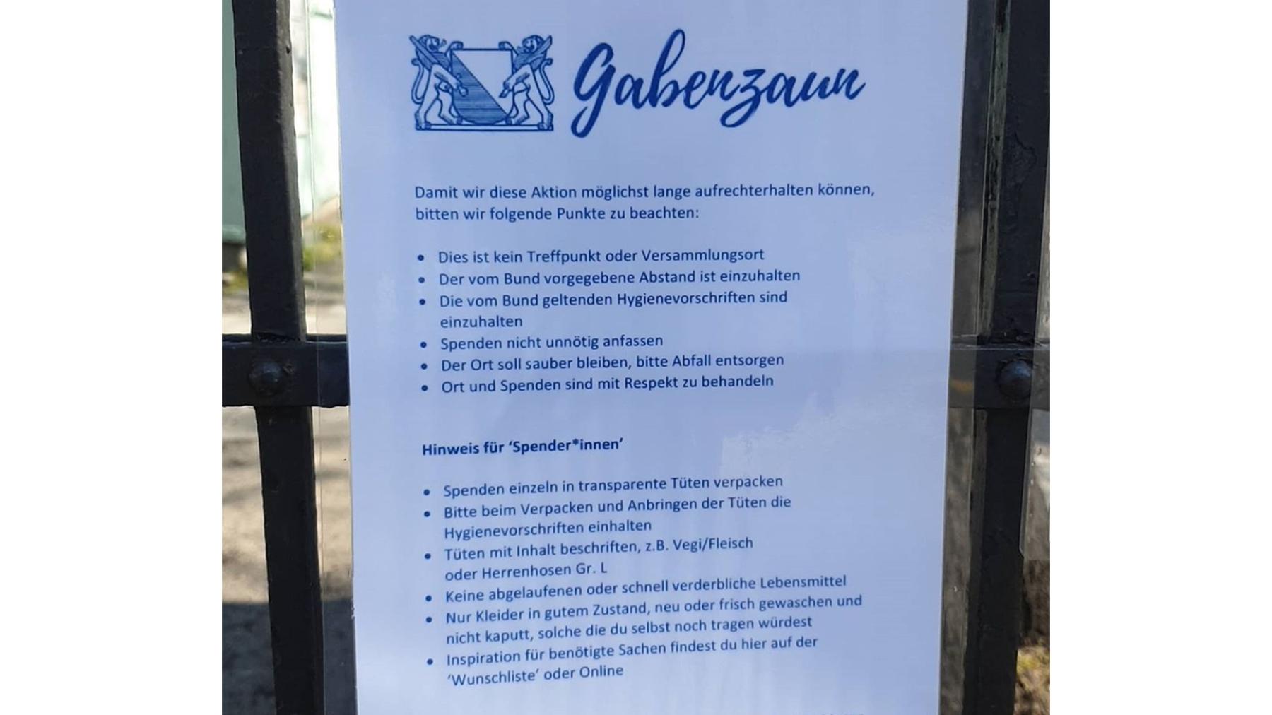 Regeln Gabenzaun ZH