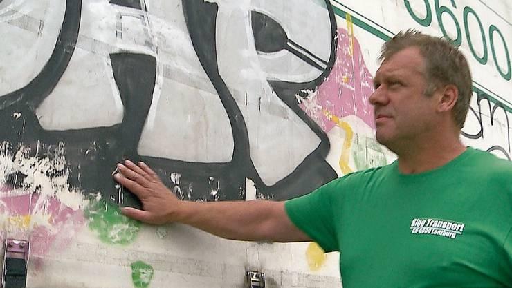 Der Lenzburger Transportunternehmer Remo Sigg ist einer der Geschädigten der Sprayer.