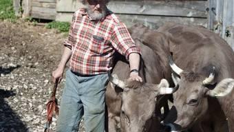 Ein Bauer mit seinem Vieh (Symbolbild)
