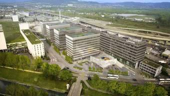 So soll der Park dereinst aufgebaut sein: Links das bestehende Shoppingcenter-Gebäude, rechts der bestehende Businesspark mit der neuen Mieterin Lonza. In der Mitte die vier Bürogebäude, die bis ins Jahr 2023 erstellen werden sollen.