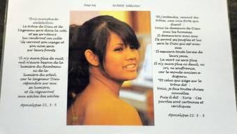 Bild der ermordeten Marie auf einer Trauerkarte