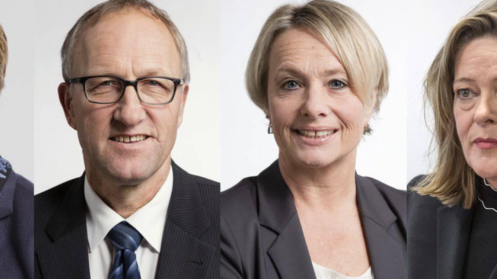 Drei Frauen und ein Mann wollen Bundesrätin Doris Leuthard beerben: Viola Amherd, Peter Hegglin, Elisabeth Schneider-Schneiter und Heidi Z'graggen.