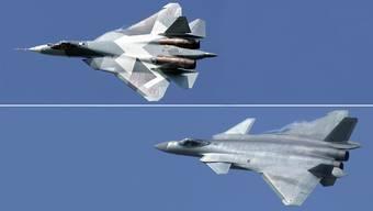 Diese beiden Kampfjets kommen in der Schweiz nicht in die Kränze: Die russische Su-57 von Suchoi (oben) und die chinesische J-20 von Chengdu (unten).