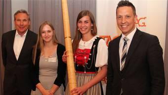 An der GV mit dabei (v.l.): Adrian Amstutz, Sophie Ramseier (geehrt für erfolgreichen Lehrabschluss 2016 als Strassentransport-Fachfrau), Lisa Stoll und Christian Imark.