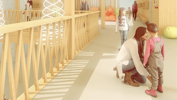 So sieht das geplante Primarschulhaus der Felber Widmer Schweizer Architekten aus — Änderungen vorbehalten.