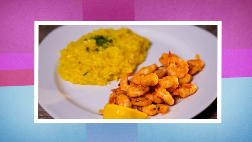 Zitronen-Chili-Shrimps mit Safran-Risotto