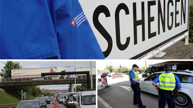 Mit der Kündigung des Schengen-Abkommens könnten die Staus an den Grenzen um Basel noch länger werden. Links unten der Autobahn-Übergang Saint-Louis, rechts der Zoll in Allschwil.