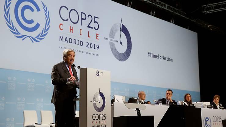 Uno-Generalsekretär Antonio Guterres fordert zur Eröffnung der Uno-Klimakonferenz in Madrid mehr Tempo im Kampf gegen die Klimakrise.