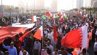 Die Strassen in Bahrains Hauptstadt Manama sind voller Menschen, die den Rücktritt des Königs verlangen
