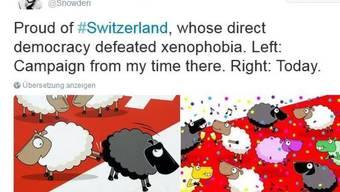 """""""Stolz auf die Schweiz"""": NSA-Enthüller Edward Snowden kommentierte den Entscheid des Schweizer Stimmvolks auf Twitter."""