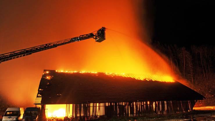 Eine Holzscheune in welcher Heu gelagert war, ist am Freitagabend im zürcherischen Kollbrunn niedergebrannt.