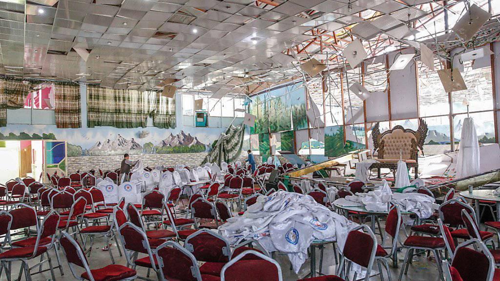 Der durch das Selbstmordattentat zerstörte Saal, wo die Hochzeitsfeier stattfand.